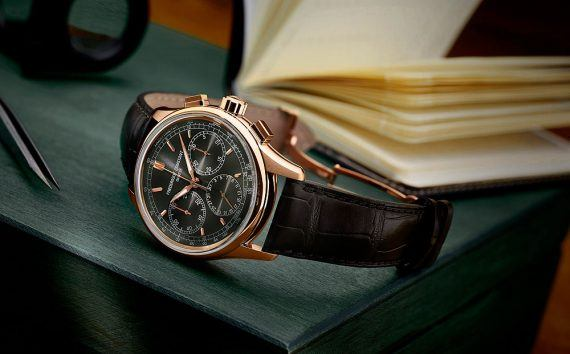 Frederique Constant Flyback Chrono - RG - black dial - reclining