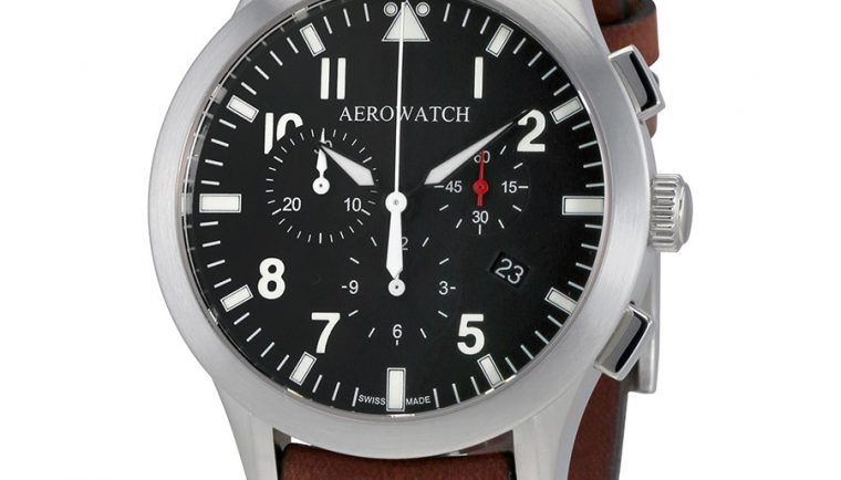 Aerowatch The Grand Classics Pilot Chronograph Black Dial Swiss Made Men's Watch A 83966 AA03